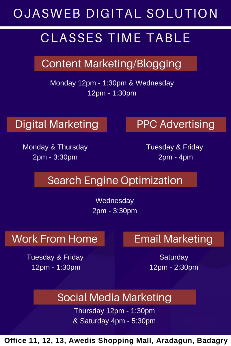 digital marketing training time table